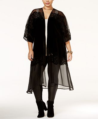 Jessica Simpson Trendy Plus Size Sheer Kimono Cardigan - Tops ...