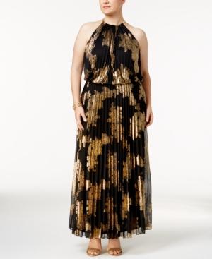 1960s Plus Size Dresses & Retro Mod Fashion Msk Plus Size Metallic-Print Pleated Blouson Halter Gown $139.00 AT vintagedancer.com