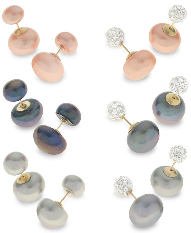 Macy's Cultured Freshwater Pearl Front and Back Earring Collection in 14k Gold