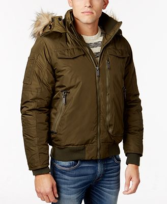 Ben Sherman Men's Hooded Bomber Jacket with Faux-Fur Trim - Coats ...
