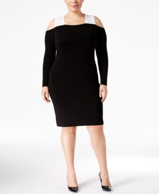 Calvin Klein Plus Size Colorblocked Cold-Shoulder Sheath Dress