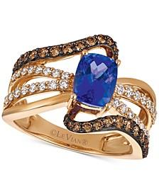 Chocolatier® Tanzanite (1-1/10 ct. t.w.) and Diamond (7/8 ct. t.w.) Statement Ring in 14k Rose Gold