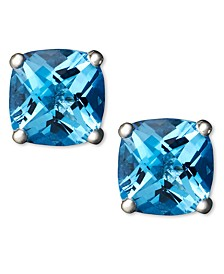 Blue Topaz (2 ct. t.w.) Cushion Stud Earrings in 14k white gold (Also availabe in Garnet, Amethyst and Peridot)