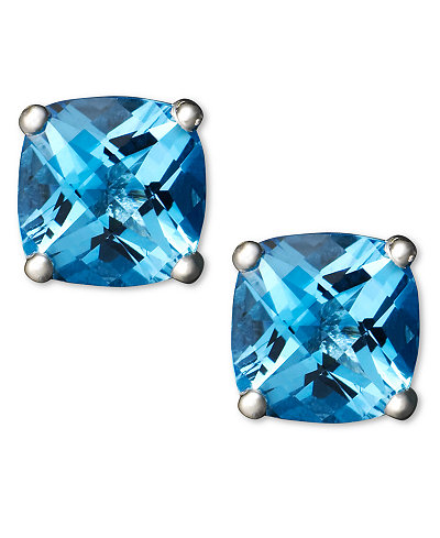14k White Gold Earrings, Blue Topaz Cushion Studs (2 ct. t.w.)