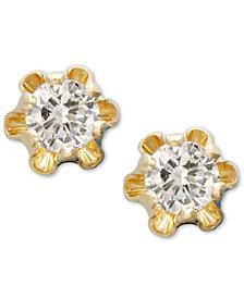 Children's 14k Gold Earrings, Diamond Stud (1/8 ct. t.w.)