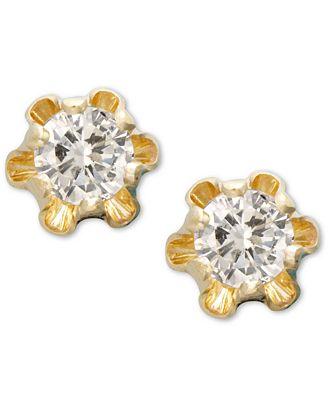 Children s 14k Gold Earrings Diamond Stud 1 8 ct t w