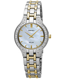 Seiko Women's Solar Diamond Accent Two-Tone Stainless Steel Bracelet Watch 28mm SUP335