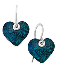 Jody Coyote Patina Heart Drop Earrings