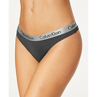 Calvin Klein Logo Cotton Stretch Thong (Ashford Grey)