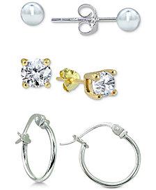 Giani Bernini Two-Tone Stud and Hoop Earrings Set, Created for Macy's