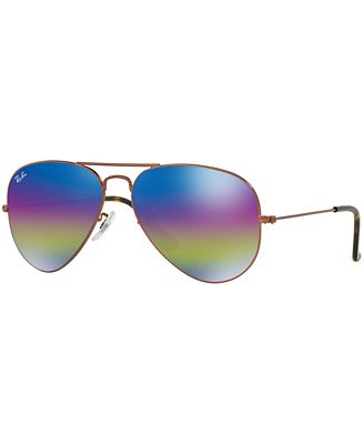 Ray-Ban Sunglasses, RB3025 58 ORIGINAL AVIATOR RAINBOW MIRRORED