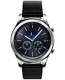 Samsung Gear S3 classic Smart Watch with Stainless Steel Case & Black Leather Strap 46mm