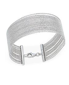 Beaded Multi-Row Bracelet in Sterling Silver