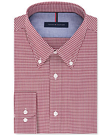 Tommy Hilfiger Men's Slim-Fit Non-Iron Red Check Dress Shirt
