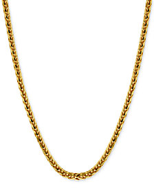 Polished Square Wheat Chain Necklace in 14k Gold