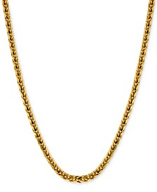 "Polished Square Wheat 22"" Chain Necklace (3-1/5mm) in 14k Gold"