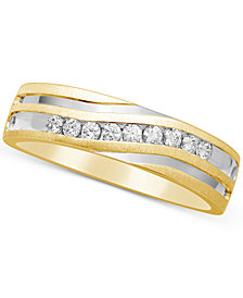 Men's Diamond Two-Tone Band (1/4 ct. t.w.) in 10k Gold and Rhodium-Plate