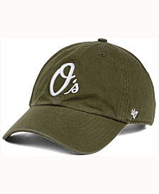 '47 Brand  Baltimore Orioles Olive White CLEAN UP Cap