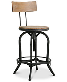 Kalber Naturally Antique Wood Bar Stool, Quick Ship