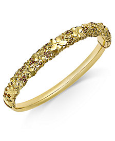 Smoky Quartz Floral Openwork Bangle Bracelet (5/8 ct. t.w.) in 14k Gold-Plated Sterling Silver