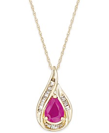 Sapphire (7/8 ct. t.w.) and Diamond (1/10 ct. t.w.) Pendant Necklace in 14k Yellow Gold (Also Available in Certified Ruby)