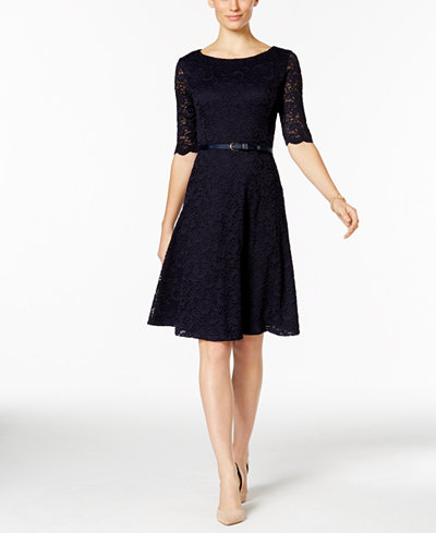 Charter Club Petite Belted Lace Fit Amp Flare Dress Only At