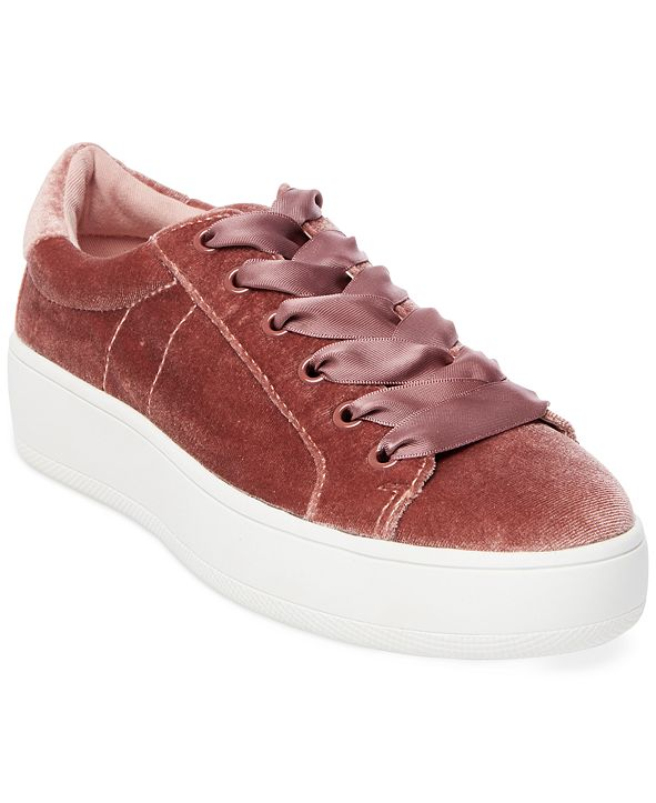Steve Madden Women's Bertie Velvet Lace-Up Sneakers