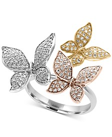 Trio by EFFY® Diamond Pavé Butterfly Ring (5/8 ct. t.w.) in 14K Yellow, White and Rose Gold