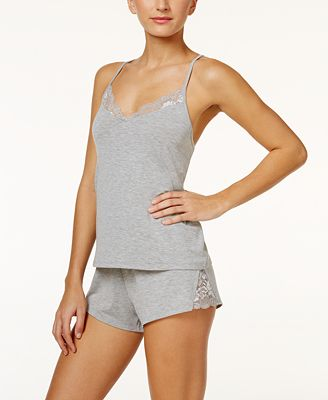 Flora by Flora Nikrooz Amelia Lace-Trimmed Cami And Shorts Knit Pajama Set