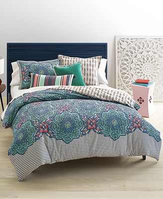 CLOSEOUT! Whim by Martha Stewart Collection Bohemian Rhapsody Reversible Blue Lagoon Bedding Collection, Only at Macy's