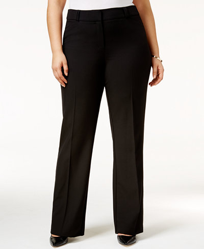 Alfani Plus Size Straight-Leg Trousers, Created for Macy's
