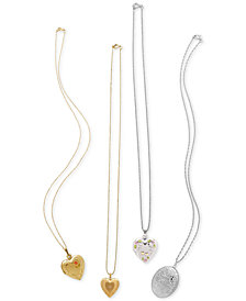Locket Pendant Necklace Collection in Sterling Silver and 14k Gold
