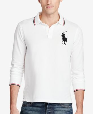 Image of Polo Ralph Lauren Men's Long-Sleeve Mesh Big Pony Polo, a Macy's Exclusive Style