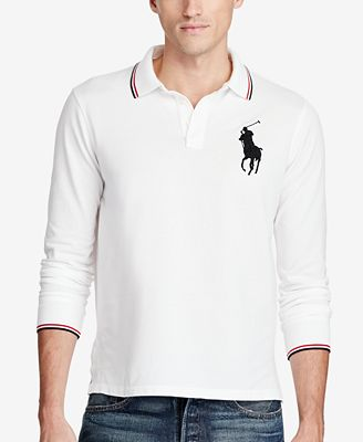 Polo Ralph Lauren Men's Long-Sleeve Mesh Big Pony Polo, Created for Macy's