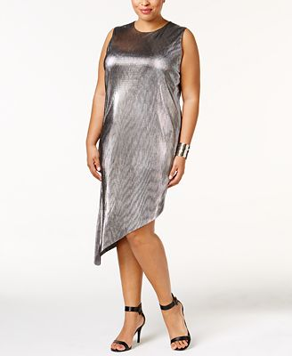Soprano Trendy Plus Size Metallic Asymmetrical Dress