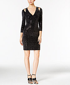 Calvin Klein Cold-Shoulder Metallic Jersey Sheath Dress