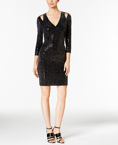 Calvin Klein Cold-Shoulder Metallic Jersey Sheath Dress