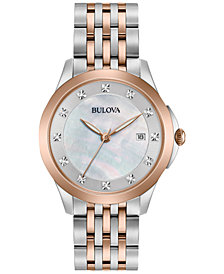 Bulova Women's Dress Diamond Accent Two-Tone Stainless Steel Bracelet Watch 36mm 98P162