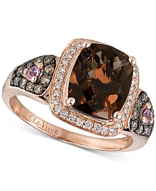Le Vian Chocolatier® Smoky Quartz (2-1/2 ct. t.w.), Diamond (1/3 ct. t.w.) and Pink Sapphire Accent Ring in 14k Rose Gold