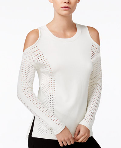 Bar III Perforated Cold-Shoulder Sweater, Only at