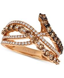 Le Vian Chocolatier® Diamond Crisscross Ring (1-1/3 ct. t.w.) in 14k Rose Gold