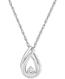 Diamond Pendant Necklace (1/10 ct. t.w.) in 10k White Gold