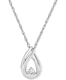 Diamond Pendant Necklace (1/10 ct. t.w.) in 10k White Gold
