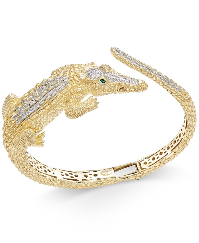 Macy's - Diamond Crocodile Bypass Bracelet (1/2 ct. t.w.) in 14k Gold-Plated Sterling Silver