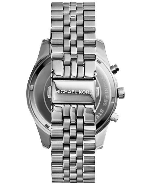 acba32eed ... Michael Kors Men's Chronograph Lexington Stainless Steel Bracelet Watch  45mm MK8280 ...