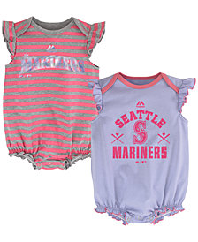 Majestic Newborn Baby Seattle Mariners Team Sparkle Set of 2 Creepers, (0-24 months)