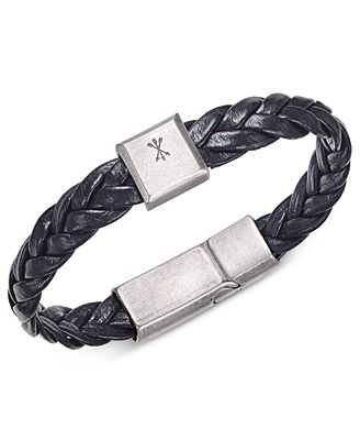 Steve Madden Men's Leather Braided Bracelet