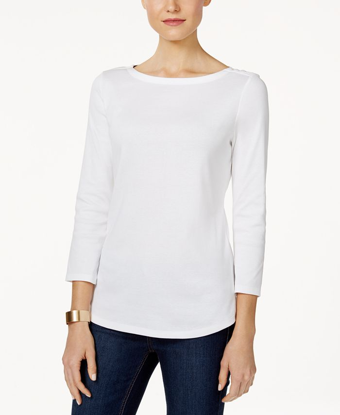 Charter Club - Boat-Neck Shoulder-Button Top