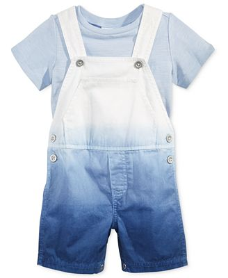 First Impressions 2-Pc. T-Shirt & Dip-Dye Shortall Set, Baby Boys (0-24 months), Only at Macy's