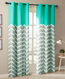"Alex 42"" x 84"" Colorblock Chevron Print Insulated Curtain Set"